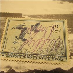 RW22 Signed U.S. Department of the Interior Migratory Bird Hunting Stamp. No gum.