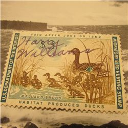 RW28 Signed U.S. Department of the Interior Migratory Bird Hunting Stamp. No Gum.