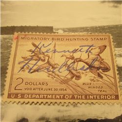 RW20 Signed U.S. Department of the Interior Migratory Bird Hunting Stamp. No Gum.
