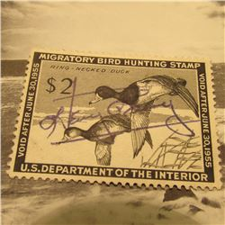 RW21 Signed U.S. Department of the Interior Migratory Bird Hunting Stamp. No Gum.