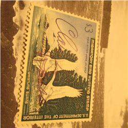 RW33 Signed U.S. Department of the Interior Migratory Bird Hunting Stamp. Partial Gum.