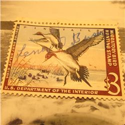 RW29 Signed U.S. Department of the Interior Migratory Bird Hunting Stamp. No Gum.
