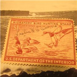 RW13 Signed U.S. Department of the Interior Migratory Bird Hunting Stamp. Partial Gum.