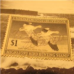 RW14 Signed U.S. Department of the Interior Migratory Bird Hunting Stamp. No Gum.