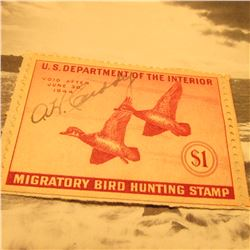 RW10 Signed U.S. Department of the Interior Migratory Bird Hunting Stamp. No Gum.