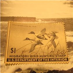RW12 Signed U.S. Department of the Interior Migratory Bird Hunting Stamp. No Gum.