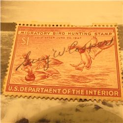 RW13 Signed U.S. Department of the Interior Migratory Bird Hunting Stamp. No Gum.