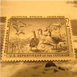 RW25 Signed U.S. Department of the Interior Migratory Bird Hunting Stamp. No Gum.