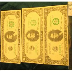 "$1, $10, & $20 ""Motion Picture Use Only"" Banknotes, Series 1935E."