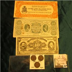 "1881, 1898, & 1905 Indian Cents ""3 Decades""; $10 ""Stage Money El Estado De Sonora""; ""10 20 30 The Mo"
