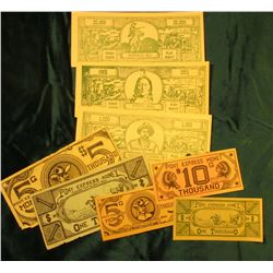 "Copyright 1947 by Bert J. Bratt ""Pony Express Money"" (2) $1000, (2) $5,000, & $10,000; ""Historical P"