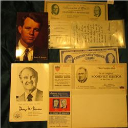 """Robert F. Kennedy"" Postcard, unused; ""George Mc Gern"" Autographed Thank you card; ""Roosevelt-Hershe"