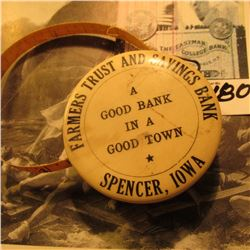 "Advertising Tape measure ""Farmers Trust and Savings Bank A Good Bank in A Good Town * Spencer, Iowa"""