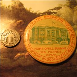 "1866 With Rays U.S. Shield Nickel & an advertising Mirror ""Brotherhood American Yeoman/Home Office B"