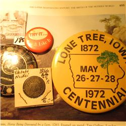"""Cole Atlantic Jeweler"" Month-Stone Indicator Advertising Mirror; ""Try It…You'll Like It"" Pin-back;"