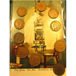 """Coin Stamp. The Mint. Philadelphia, Pa."" Post Card & (10) Indian Cents 1902-06 all EF."