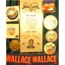 """1968 George C. Wallace for our President"" Silk Ribbon & (8) other Presidential Campaign Pin-backs,"
