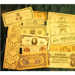 "$100,000 ""Tainted Counterfeit Advance Novelty Co., Detroit, Mich."" Scrip; $10, $20, & $50 ""Play 21"""