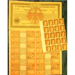 "Sheet of (8) 100,000 Mark Interest coupons from 1923 ""Schatzanweifung des Deutscen Reichs von""; 1923"