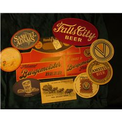 "Unused ""Handy 6 Pack Pilsener Burgemeister Beer…Warsaw, Ill."" folded flat; cloth Jacket patch ""Falls"
