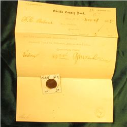 Nov. 4, 1865 Oneida County Bank Utica, N.Y. Letter with an 1865 U.S. Two Cent Piece grading VF.