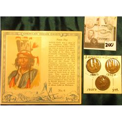 """Red Man Chewing Tobacco"" Card depicting ""Noon Day"" American Indian Chiefs & 1886, 1895, & 1907 Indi"