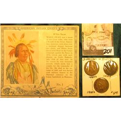 """Red Man Chewing Tobacco"" Card depicting ""White Swan"" American Indian Chiefs & 1883, 1897, & 1906 In"