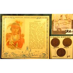 """Red Man Chewing Tobacco"" Card depicting ""Cayatanita"" American Indian Chiefs & 1888, 1891, & 1902 In"