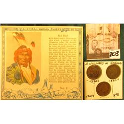 """Red Man Chewing Tobacco"" Card depicting ""Red Bird"" American Indian Chiefs & 1881, 1891, & 1907 Indi"