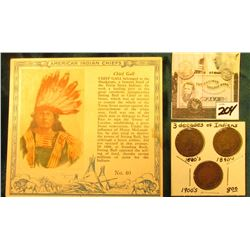 """Red Man Chewing Tobacco"" Card depicting ""Chief Gall"" American Indian Chiefs & 1882, 1893, & 1907 In"