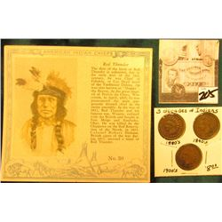 """Red Man Chewing Tobacco"" Card depicting ""Red Thunder"" American Indian Chiefs & 1887, 1901, & 1902 I"