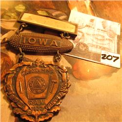 "1922 ""Iowa Mason City R.A.M. Annual Convocation"" Copper Badge with Hangar."