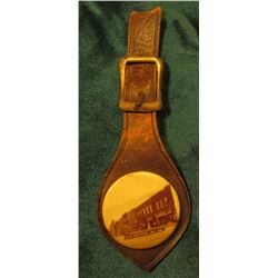 "Watch Fob with leather ""South Main St. Ames, Iowa""."