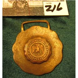 "Copper Watch Fob ""State University of Iowa Org. Feb.25, 1847""."