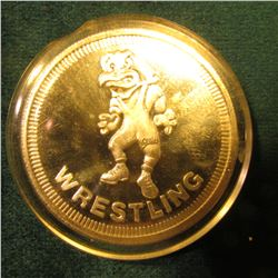 "Herkimer Hawk depicted ""Wrestling"", ""The University of Iowa/Hawkeyes/One Troy Ounce .999 fine Silver"