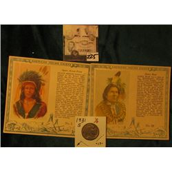 "(2) ""Red Man Chewing Tobacco"" Cards depicting ""Agate Arrow Point"" & ""Hairy Bear"" American Indian Chi"