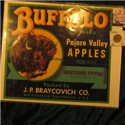 "Wooden Apple Crate Label ""Buffalo Brand Pajaro Valley Apples…"" & 1938 D Buffalo Nickel, Uncirculated"