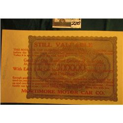 "February 1923 100,000 Mark German Note with Advertising stamp ""…Mortimore Motor Car Co."", Uncirculat"