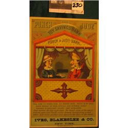 """Punch and Judy Toy Savings Bank…Ives, Blakeslee & Co., New York"" Mechanical Bank advertising card,"
