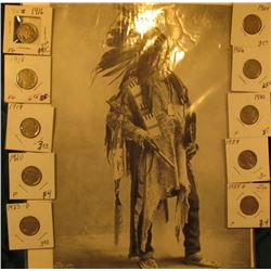"Indian Print circa 1898 Omaha Exposition of ""Black Bird"", 8 1/2"" x 11 3/4""; & (10) Buffalo Nickels 1"