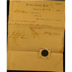 """Oneida County Bank, Utica, N.Y."" 1865 Collections letter & 1865 U.S. Two Cent Piece, EF."