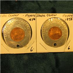 "(2) 1948 Encased Lincoln Cent,  ""Eggers Deep Rock Service…St. Ctr., (Iowa)"". BU"