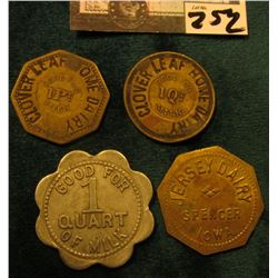 "(4) Different Iowa Dairy Tokens. ""Jersey Dairy/Spencer/Iowa"", ""Good For/One/Quart/Milk"", br., oct.;"