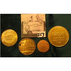 "(4) Different Cedar Rapids, Iowa Tokens: 1990 Handstruck I.N.A. Token; ""Good For/$10.00/In Trade"", """