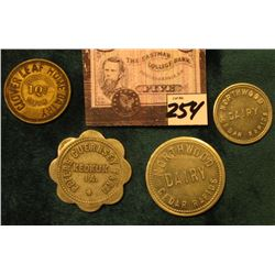"(4) Different Iowa Dairy Tokens. ""Cloverleaf Home Dairy/Good For/1 Qt./Milk"", Blake Mfg. Rev., rd.,"