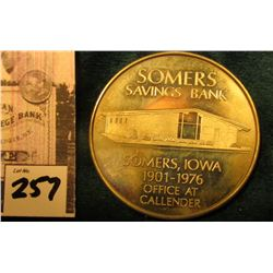 """United States/Independence Hall/1776-1976/Bicentennial"", ""Somers/Savings Bank/ Somers, Iowa/1901-19"