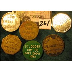 "Set of 5 Fort Dodge Creamery Co. Tokens & ""The Kelley/Canning/Company"", ""Husking/1 Basket/Corn"" toke"