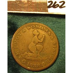 "1838 ""Am I Not A Woman & A Sister"", ""United States of America/Liberty"" So-called Slave Token."