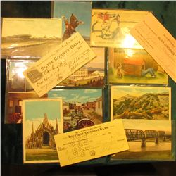 (3) Old Checks & (10) Old Post Cards from South Dakota. Most appear to date prior to 1940.