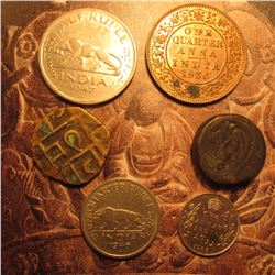 (6) Old India Coins including Silver and some High Grade. 1936B 1/4 Anna Near Unc, 1947 Half Rupee;